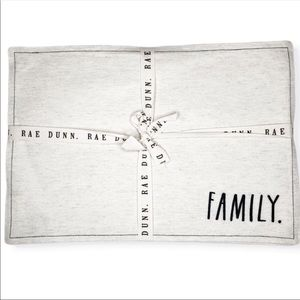 New Rae Dunn 4 FAMILY Embroidered Table Placemats